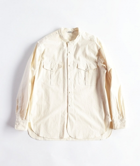 KABEL (カベル) SELVAGE COTTON POPLIN BAND COLLAR SHIRT【MENS】