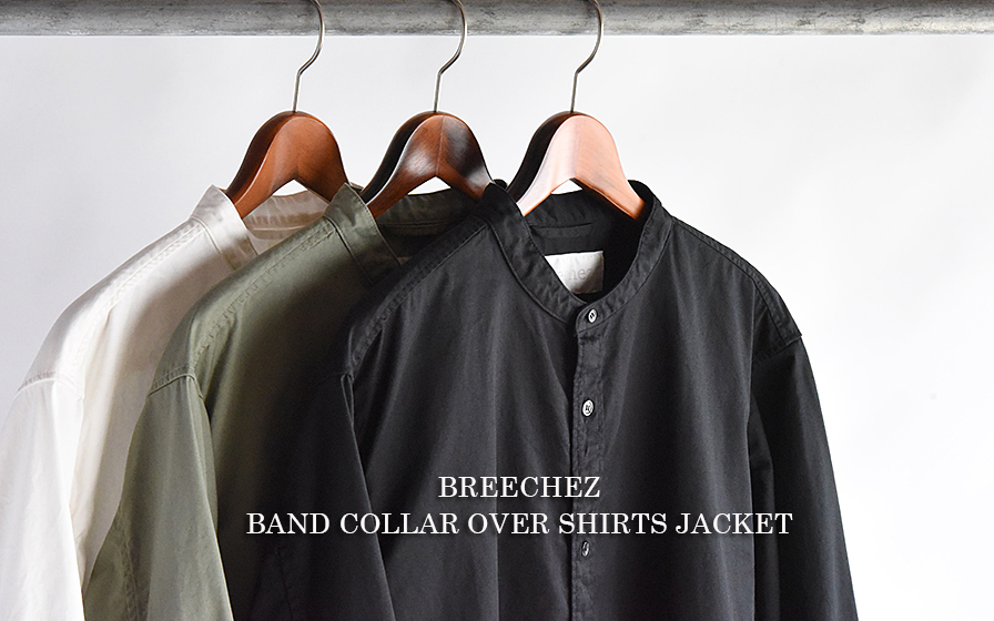 BREECHEZ BAND COLLAR OVER SHIRTS JACKET