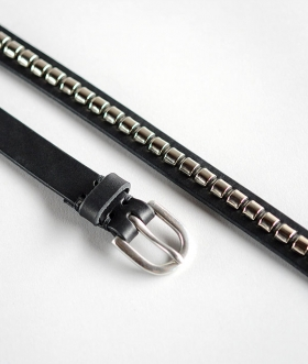 HALCYON BELT COMPANY (ハルシオンベルトカンパニー) SILVER CLINCHER OIL LEATHER BELT【MENS】
