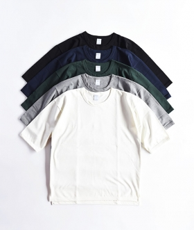 quotidien (コティディアン) COTTON PIQUE MIDDLE SLEEVE WIDE TEE【MENS&WOMENS】