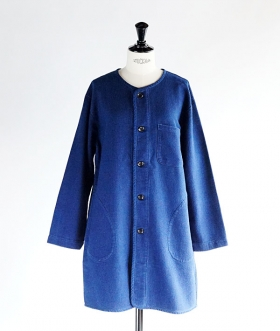 GAIJIN MADE (ガイジンメイド) INDIGO DOBBY NO COLLAR COAT【WOMENS】