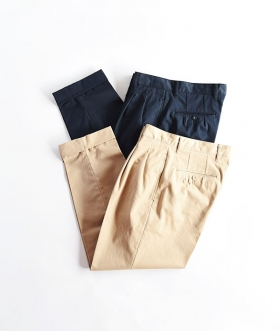 KABEL (カベル) SELVAGE COTTON TWILL 2TUCK PANTS【MENS】