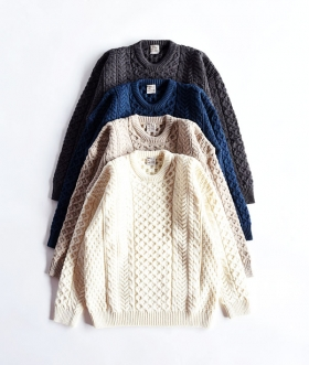 INVERALLAN(インバーアラン) CREW NECK TRADITIONAL ARAN SWEATER【MENS&WOMENS】