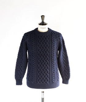 INVERALLAN(インバーアラン) 1A CREW-NECK KNIT  Navy【MENS&WOMENS】