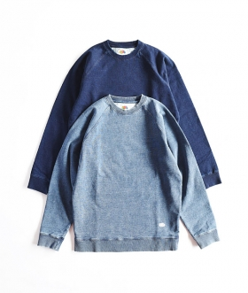 FRUIT OF THE LOOM×BLUE BLUE(フルーツオブザルーム×ブルーブルー) INDIGO SWEAT RAGLAN CREW NECK【MENS】